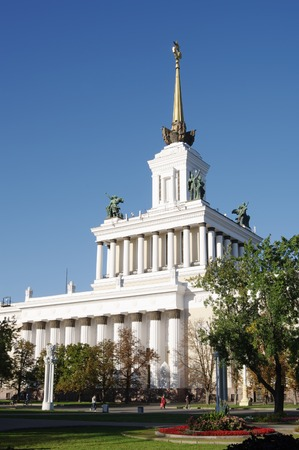 enea: MOSCOW, RUSSIA - SEPTEMBER 16, 2014: ENEA VDNH,VVC, side view of Central pavilion No.1, closeup Editorial