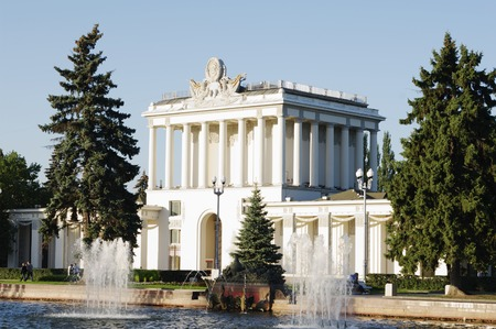 enea: MOSCOW, RUSSIA - SEPTEMBER 16, 2014: ENEA VDNH,VVC, Pavilion No.64 Optics,Leningrad and fontain in foreground Editorial