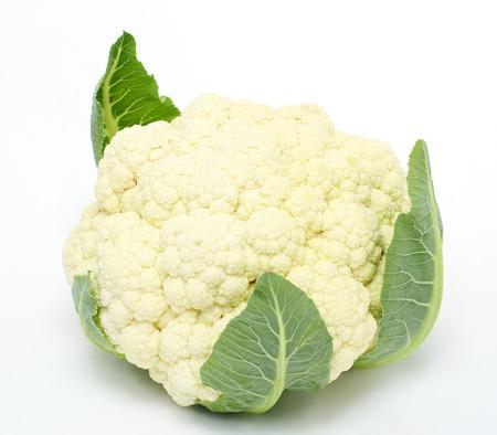 head of cauliflower: Cauliflower head closeup, local focus, shallow DOF. Stock Photo