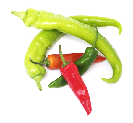 pimento: Colorful hot pepper and paprika pods on white, isolated.