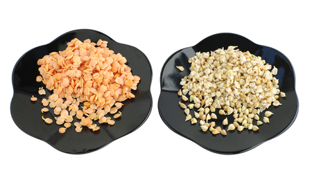 plantlet: sprouts of lentil and buckwheat seeds on plates, on white isolated Stock Photo