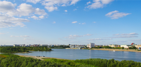 riverine: summer top view of Irtysh river  and panorama of city, Omsk, Russia Stock Photo