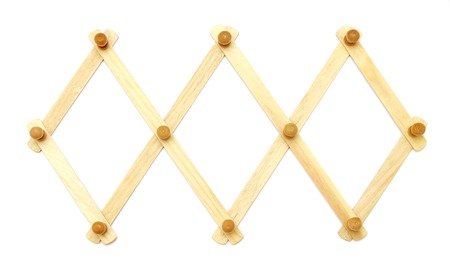 rhomb: wooden rhomb cells rack on white isolated Stock Photo