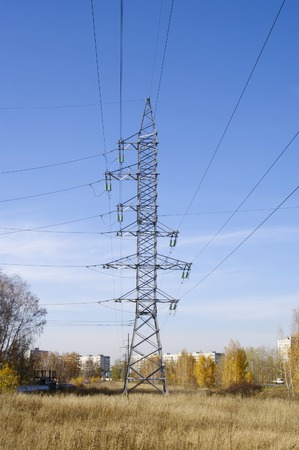 three phase: tower and wires of high-voltage power line