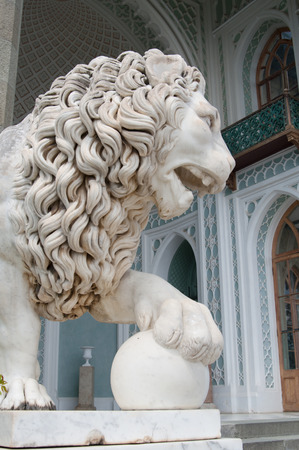 alupka: Alupka, Russia - May 10, 2016: sculpture of marble lion of Vorontsov Palace, Crimea Editorial