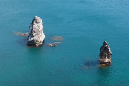 Orest and Pylad cliffs in Black sea, Crimea Stock Photo