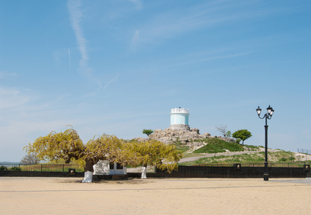 Memorial of military glory on mount Mithridate,    view of rotunda tower with Eternal flame, Kerch, Crimea