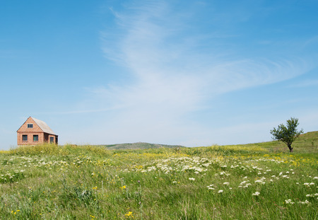 spring blooming Kerch steppe with house, Crimea
