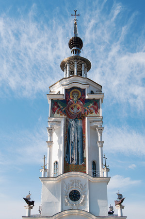 fresco on tower of Nicholas temple-lighthouse, Crimea Stok Fotoğraf
