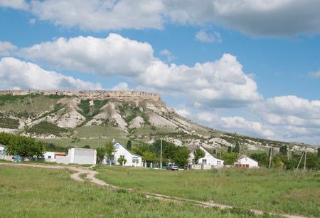 mountain White Rock (Ak-Kaya) and village at its foot, Crimea