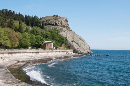view of rocky cape Plaka in Black sea, Crimea