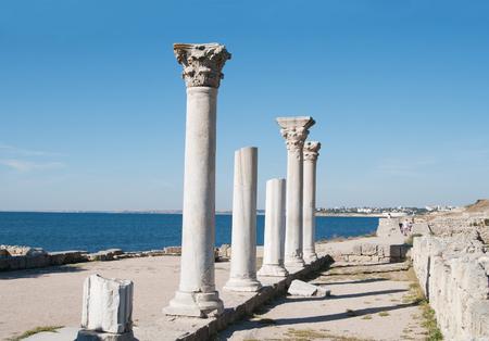 ancient city Chersonese, columns of of Basilica (VI-X c.), Crimea