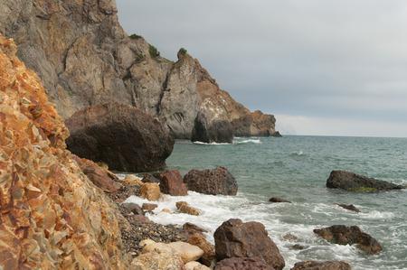 Jasper beach of cape Fiolent, Crimea