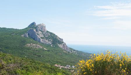 Spring view of rock Delikli Burun( Frog, Crab), Crimea
