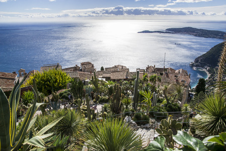 Eze sur mer - French Medieval village Panorama Imagens