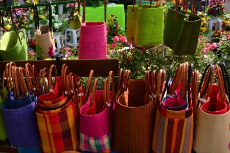 shoppingbags: Reed colourful baskets on a marketplace