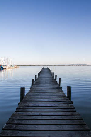lonely pier at sea in the morning