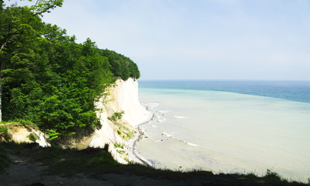 scarp: view to the chalk cliff  on island Ruegen and baltic sea