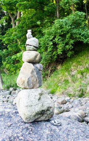 small stone pyramid Stock Photo