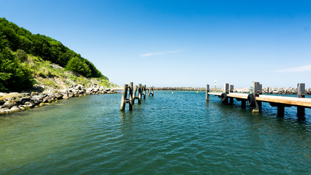 brackish water: pier of the harbor in Lohme