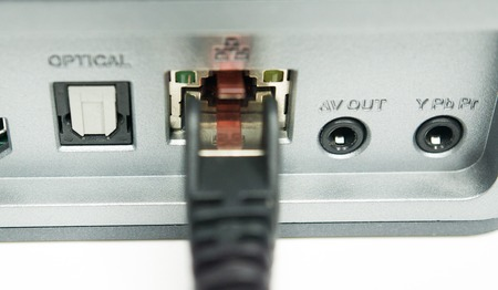 network port of a media player Stockfoto