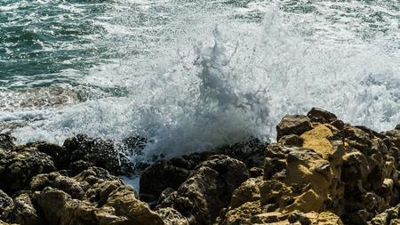 high waves at the coast of mediterranean sea Reklamní fotografie