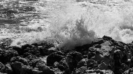 high waves at the coast of mediterranean sea Banco de Imagens