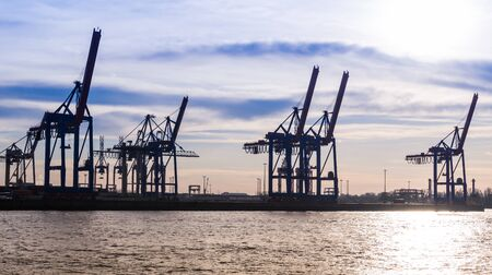 Hamburg, germany - February 2019 Hamburg harbor container terminal with cranes at sunset
