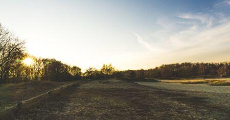 landscape of Boberger dunes at sunset in winter