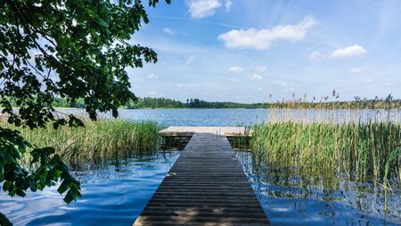 landing stage with view to lake Krakower See Stock fotó