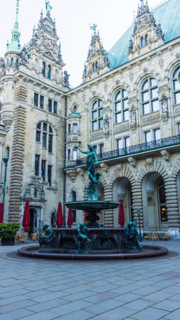 HAMBURG, GERMANY - June 22, 2019 Hygieia well in inner courtyard of Hamburg town hall