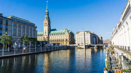 HAMBURG, GERMANY - June 22, 2019 view to Hamburg town hall with river Alster in foreground