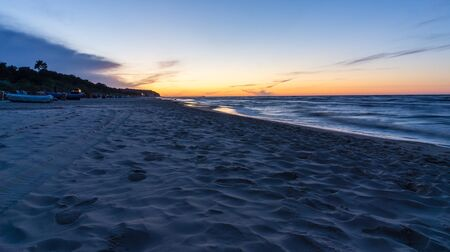 sunset at the beach of Heringsdorf on island Usedom