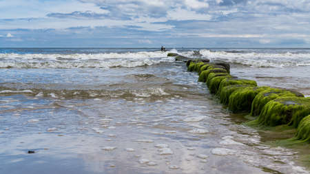baltic sea beach in Bansin Usedom with breakwater Stock fotó