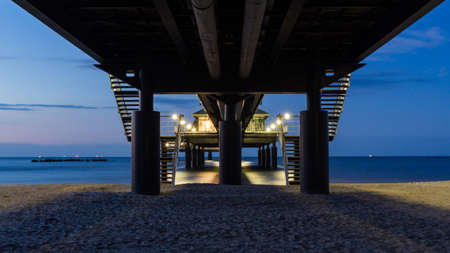 under the pier of Heringsdorf on island Usedom at night