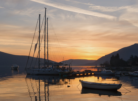kotor: Sunset. Bay of Kotor, Montenegro Stock Photo