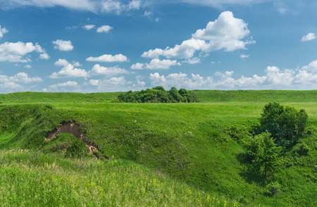 Hillside.  Beginning of the formation of the ravine.  Central Russia; Ryazan region photo
