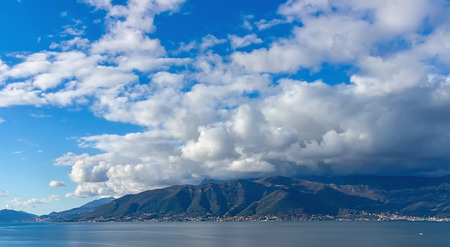 kotor: Cloudscape. Bay of Kotor, Montenegro Stock Photo