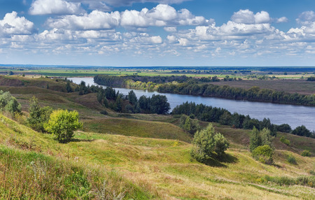 oka: Bank of Oka river near Konstantinovo village. Central Russia, Ryazan region
