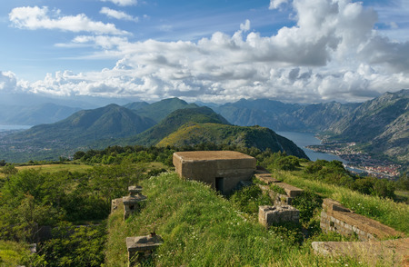 ruinous: View of Bay of Kotor from Austro-Hungarian fortress Gorazda. Montenegro.