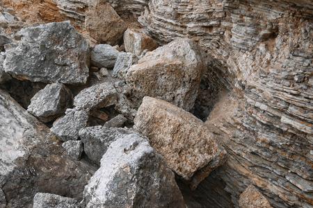 detritus: Texture of the coastal cliff in Montenegro