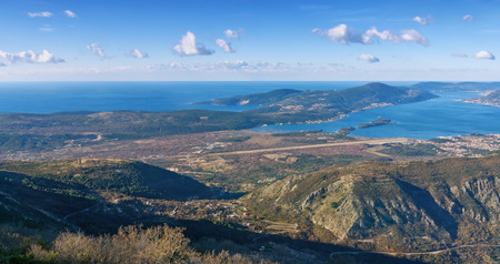 birdseye view: Birds-eye view of  Adriatic sea coast and Lustica peninsula near Tivat city. Montenegro