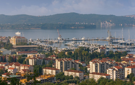 birdseye view: Birds-eye view of Tivat city. Montenegro