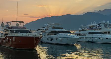 berth: Sunset.  Port in Tivat city, Montenegro.