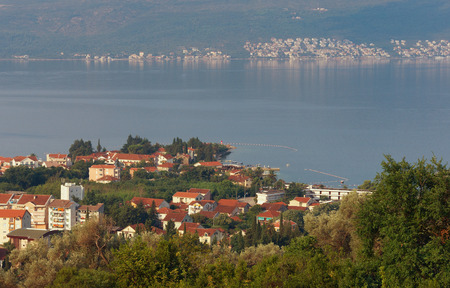 birdeye: Bird-eye view of Donja Lastva village. Bay of Kotor near Tivat city, Montenegro