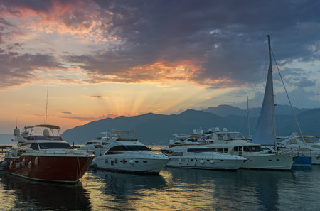 afterglow: Port in Tivat city, Montenegro. Sunset afterglow.