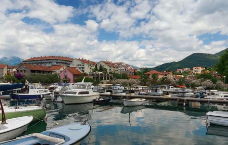 reverberation: Marina Kalimanj.Tivat city, Montenegro Stock Photo