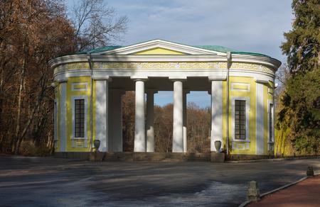 city park pavilion: Flora Pavilion in park Sofiyivka National dendrological park of Ukraine.  Uman city, Central Ukraine Stock Photo