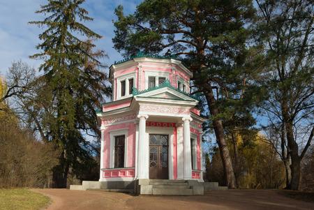 city park pavilion: Pink Pavilion on Island of Anti-Circe in park Sofiyivka National dendrological park of Ukraine.  Uman city, Central Ukraine