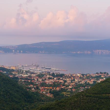 birdeye: Sunrise. Bird-eye view Bay of Kotor near Tivat city. Montenegro
